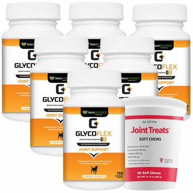 6-PACK GlycoFlex 3 (720 Tablets) + FREE Joint Treats!