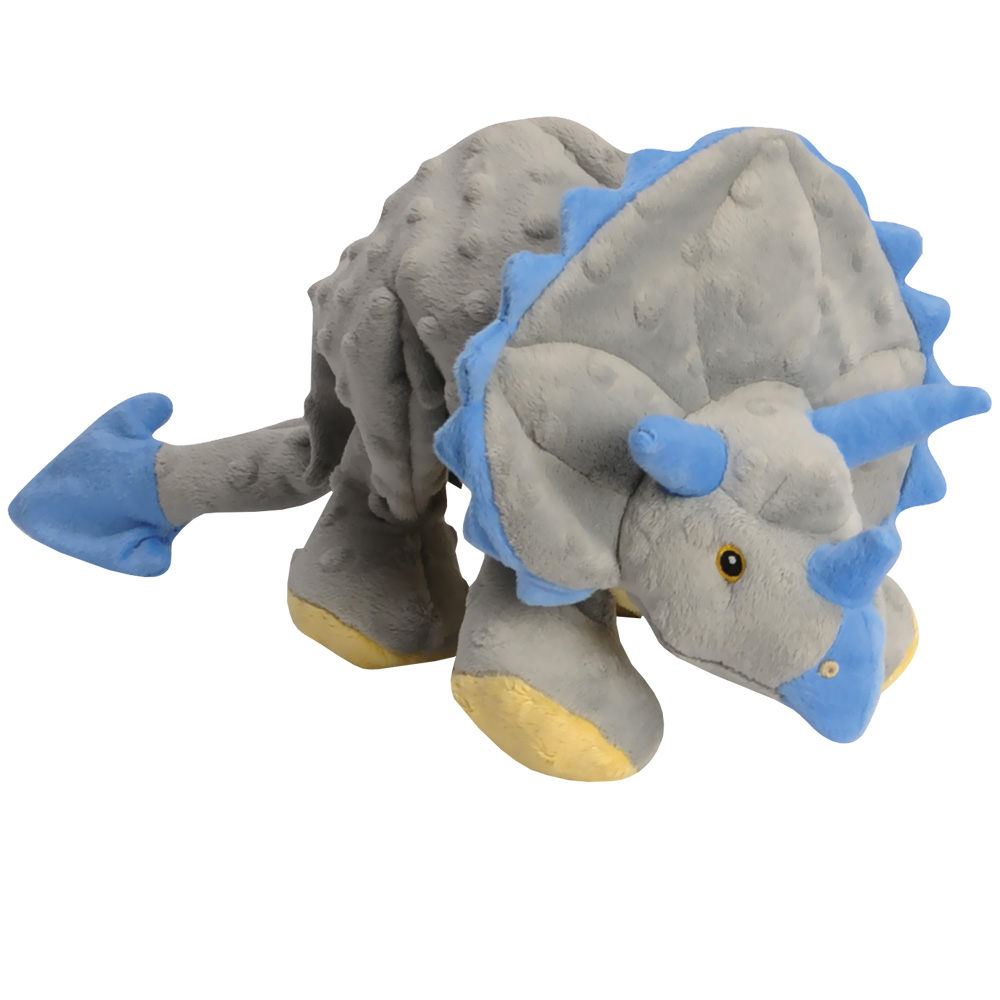 GoDog Frills Dinosaur Triceratops with Chew Guard - Grey