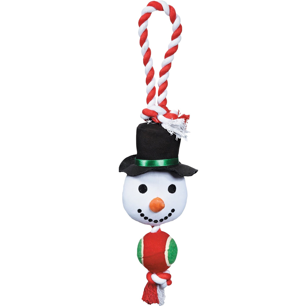 Grriggles Holiday Rope Tennis Tug - Snowman