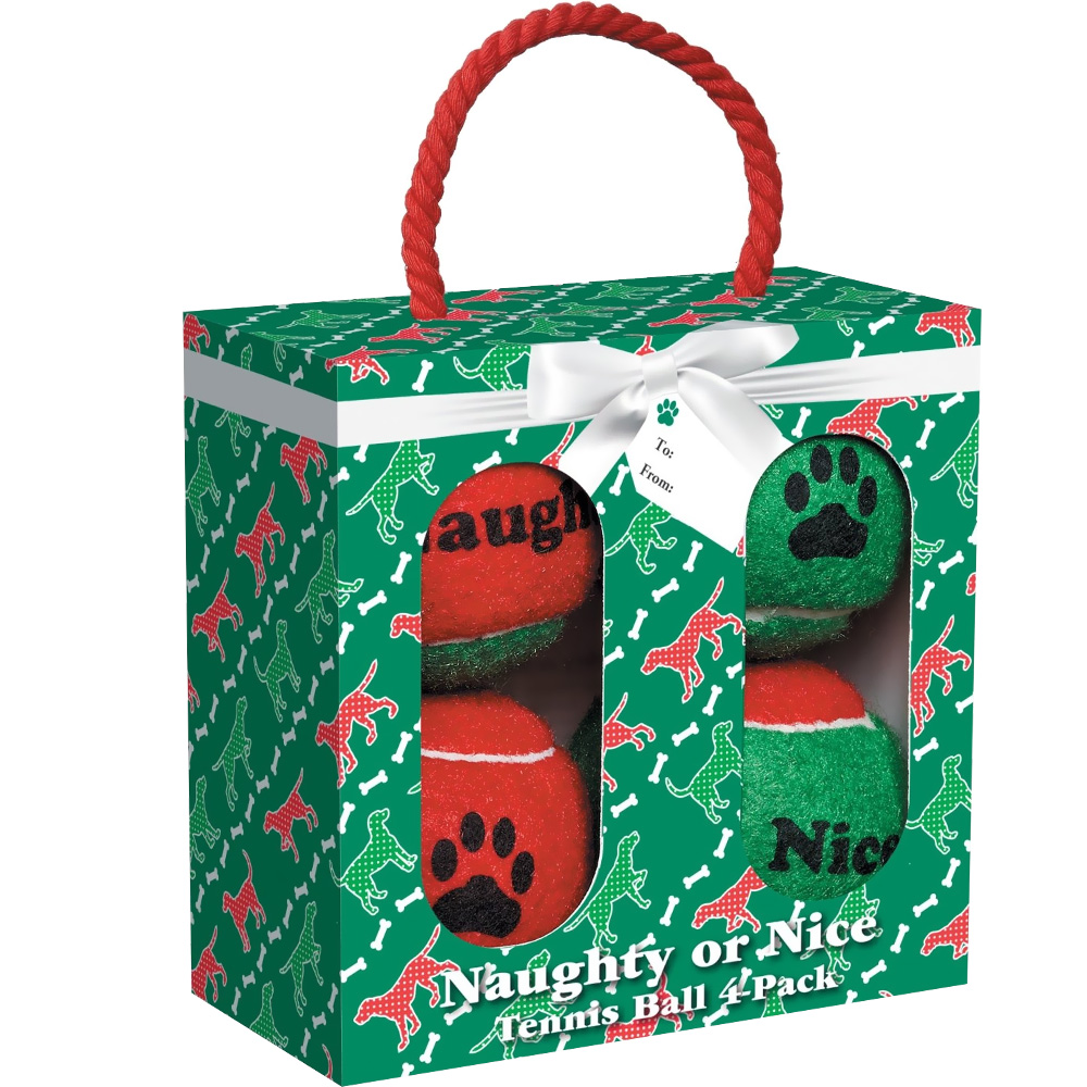 Grriggles Naughty or Nice Tennis Balls (4-Packs)