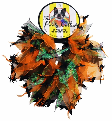 """Halloween Party Collar - Spider & Bats - Large (14"""")"""