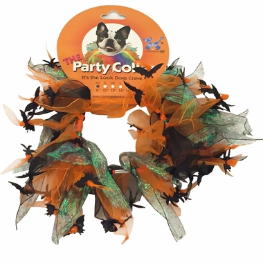 Halloween Party Collar - Spider & Bats - Medium (12