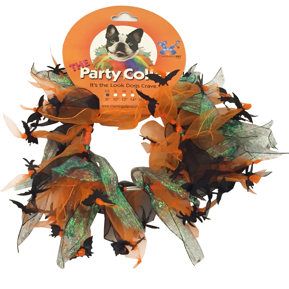 Halloween Party Collar - Spider & Bats - Small (10
