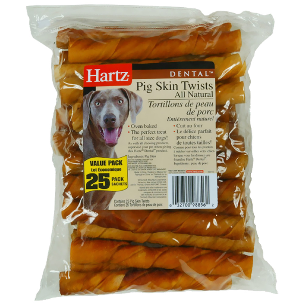 "Hartz Oinkies Pig Skin Twists 5"" (25 pack)"