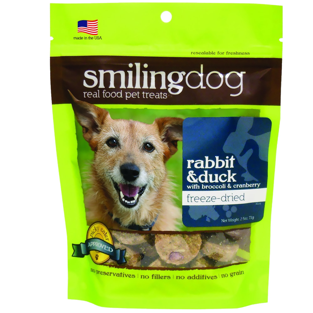 Herbsmith Smiling Dog Freeze-Dried Treats - Rabbit & Duck with Broccoli & Cranberries