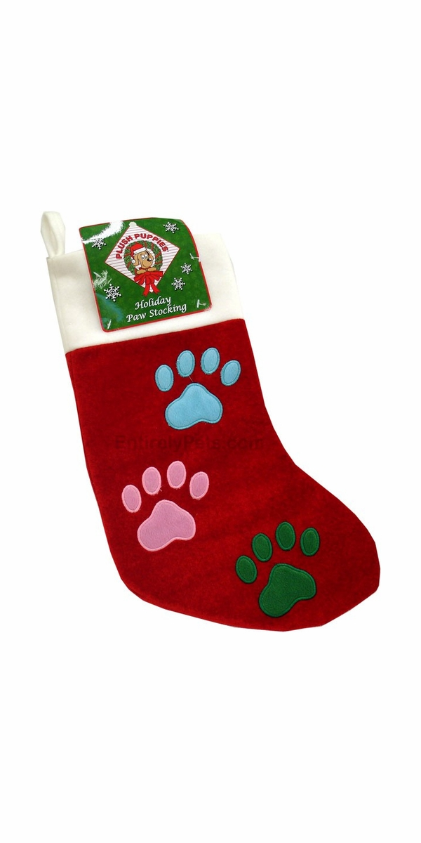 Holiday 3 Color Paw Stocking - LARGE