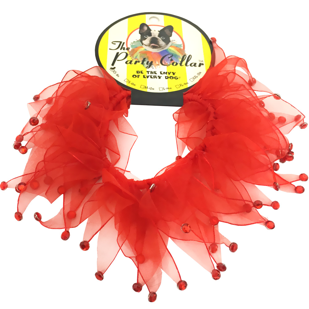 Holiday Party Collar - Red Rhinestones - Large (14