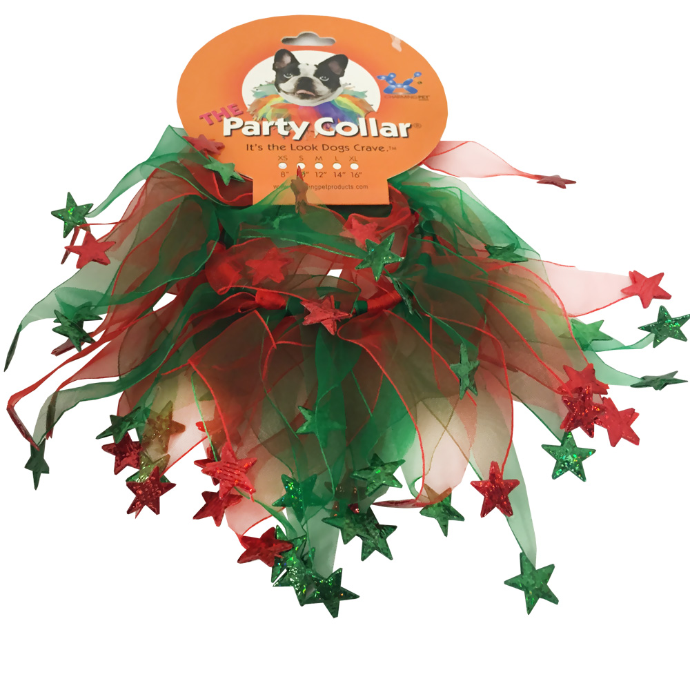 "Holiday Party Collar - Xmas Red & Green Stars - Medium (12"")"
