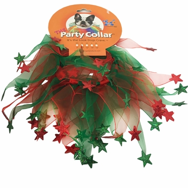 Holiday Party Collar - Xmas Red & Green Stars - Small (10