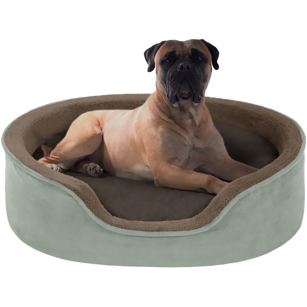 "JLA Pets Milo Oval Cuddler with Cushion - Green/Chocolate (14x18"")"