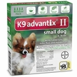 4 MONTH K9 ADVANTIX II GREEN Small Dog (for dogs under 10 lbs)