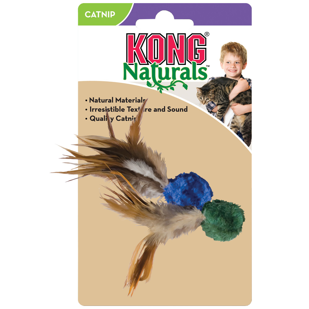 KONG Cat Naturals Crinkle Ball w/Feathers Teaser