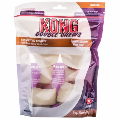 KONG Double Chews Bacon Rawhide - Medium (2 pack)