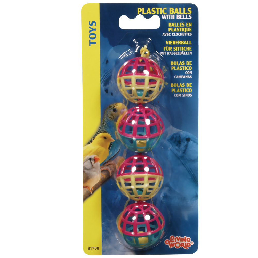 Living World 4 Plastic Balls with Bells