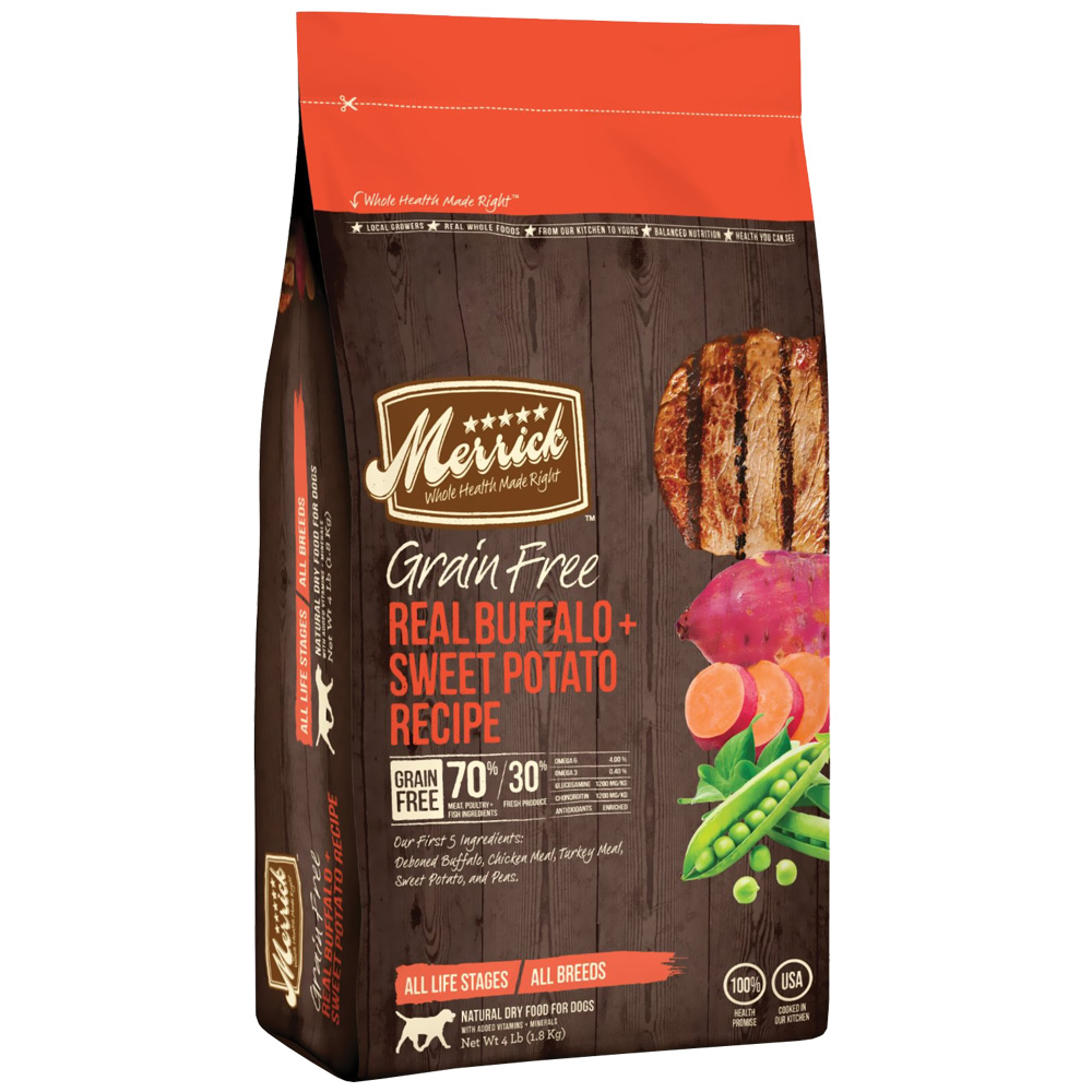 Taste Of The Wild Dog Food Reviews >> Merrick Grain Free Real Buffalo and Sweet Potato Dog Food (4 lbs) | EntirelyPets
