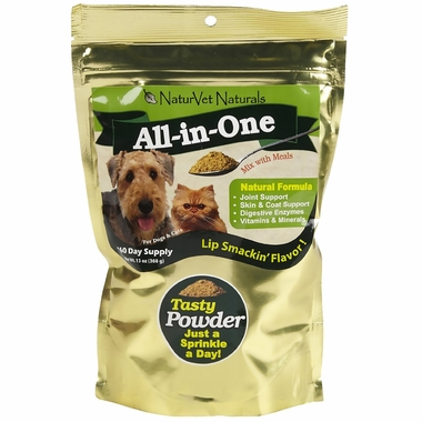 NaturVet All-in-One Powder Supplement for Dogs & Cats 60 Day Supply