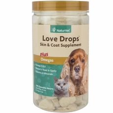 NaturVet Love Drops Skin & Coat (200 chewable hearts)