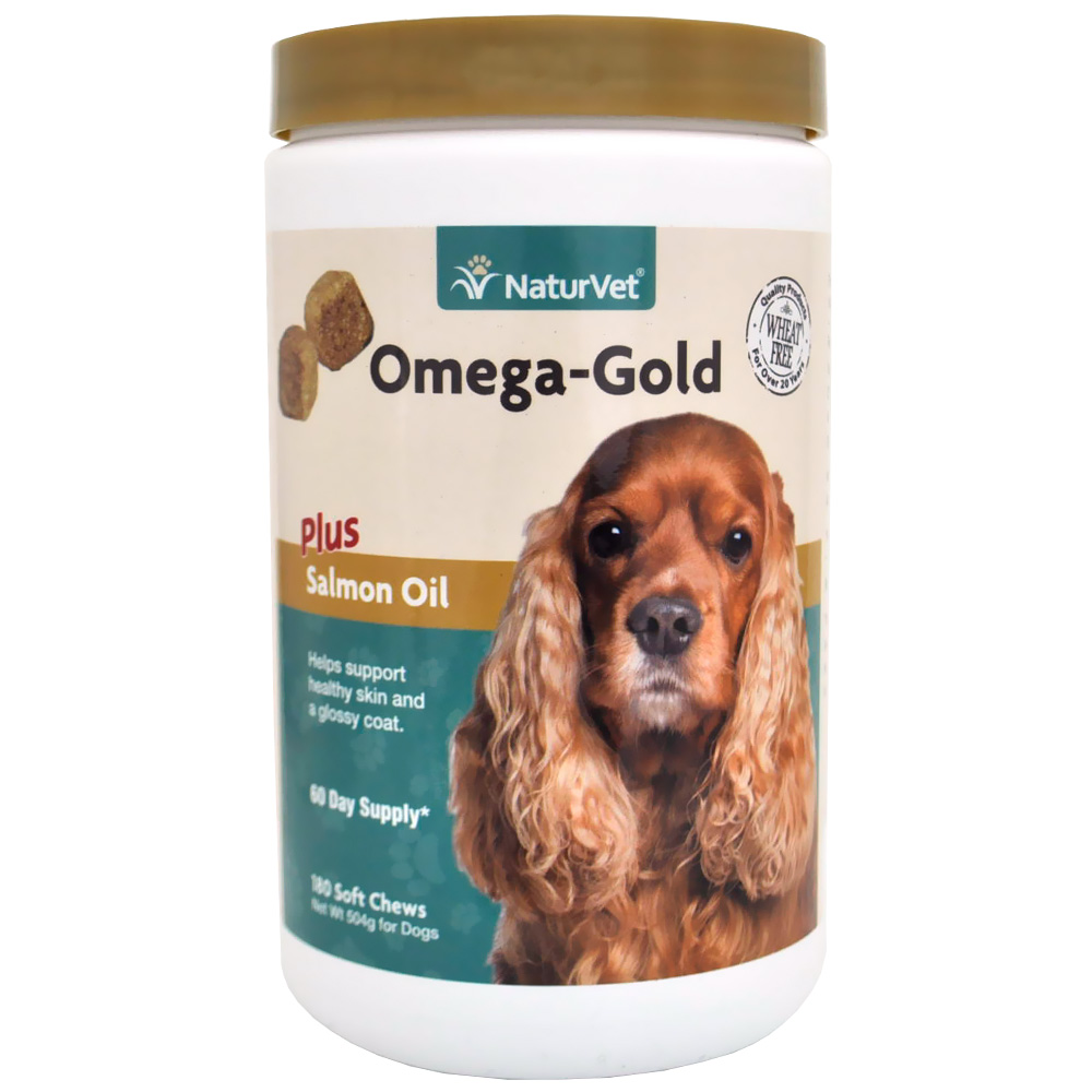 NaturVet Omega-Gold Plus Salmon Oil (180 Soft Chews)