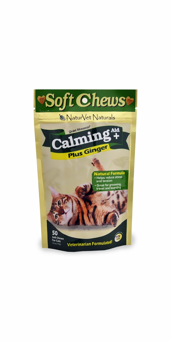 Naturvet Quiet Moments Cat Calming Aid Plus Ginger (50 soft chews)