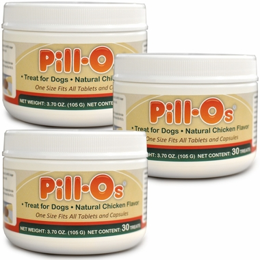 3-PACK Pill-Os Tasty Pilling Treats One Size - Chicken (90 Count)
