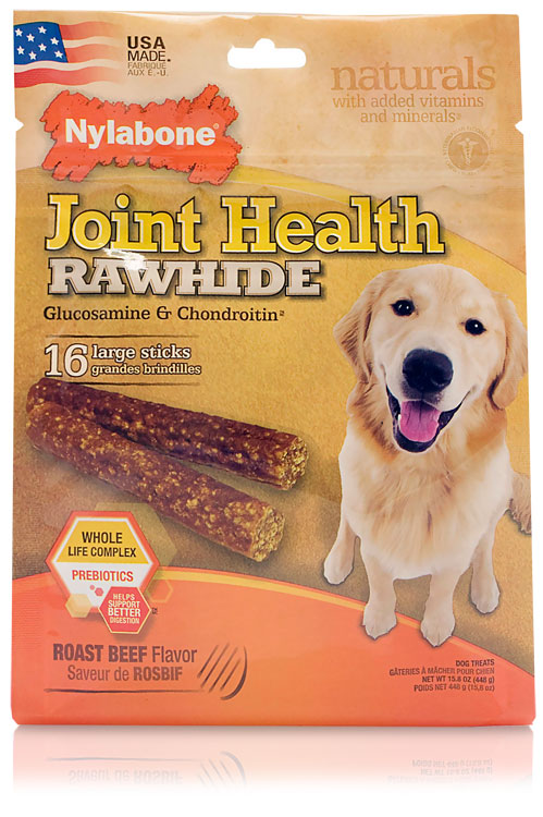 Nylabone Joint Health Rawhide Glucosamine & Chondroitin - Beef (16 large sticks)