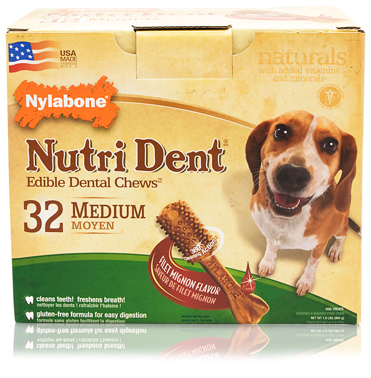 Nylabone Nutri Dent Dental Chews Filet Mignon Pantry Pack (32 Medium)