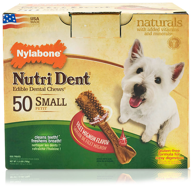 Nylabone Nutri Dent Dental Chews Filet Mignon Pantry Pack (50 Small)