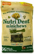 Nylabone Nutri Dent Edible MiniChews for MINI DOGS (36 Per Pouch / 6.3 oz)