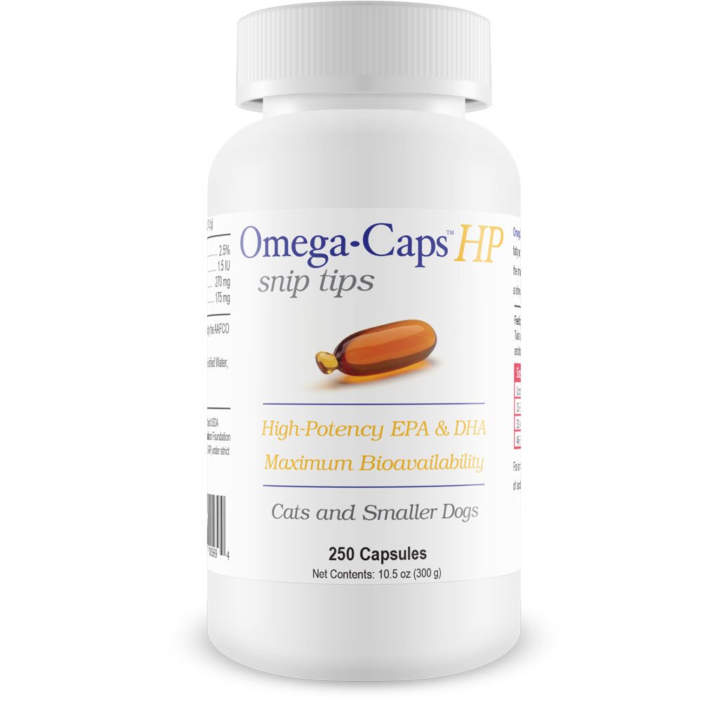 Omega-Caps HP snip tips for Cats & Smaller Dogs (250 Capsules)