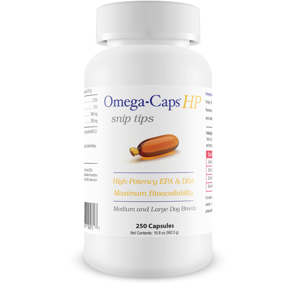 Omega-Caps HP snip tips for Medium & Large Dogs (250 Capsules)