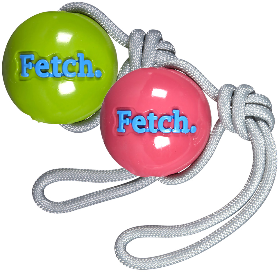 Orbee Tuff FETCH Ball w/ Rope - GREEN/PINK Asstd