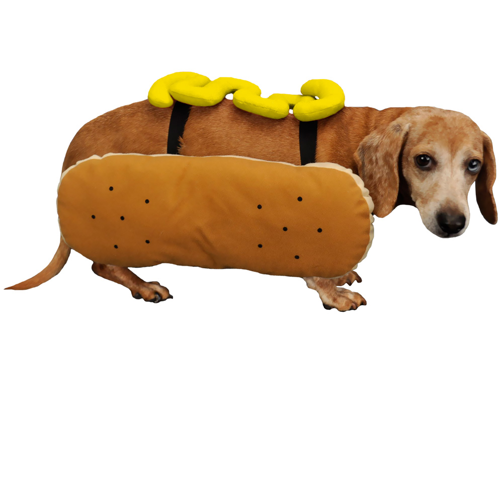 Otis and Claude Fetching Fashion Hot Diggity Dog Costume Mustard - MEDIUM