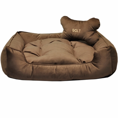 Otis & Claude Sleepy Paws Sadie Square Dog Bed with Bolster - Medium