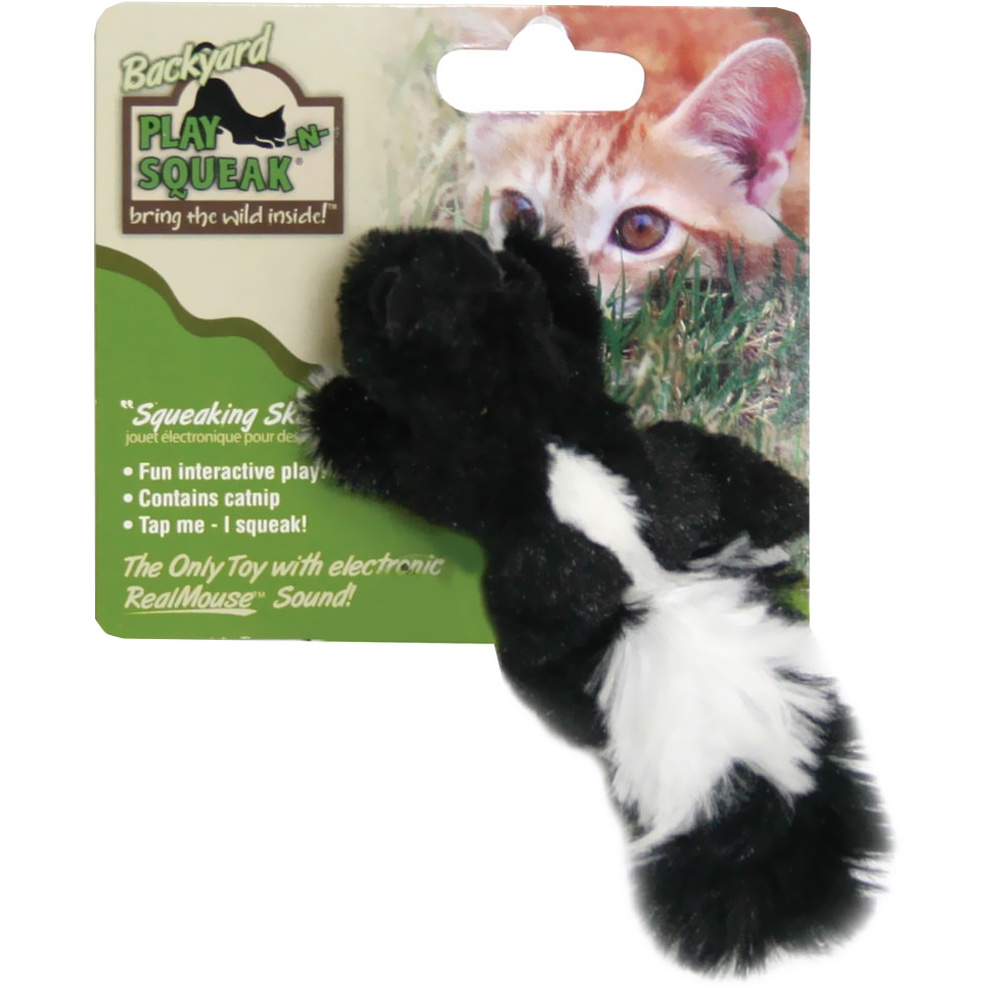 OurPets Play-N-Squeak Backyard Friend Cat Toy - Skunk