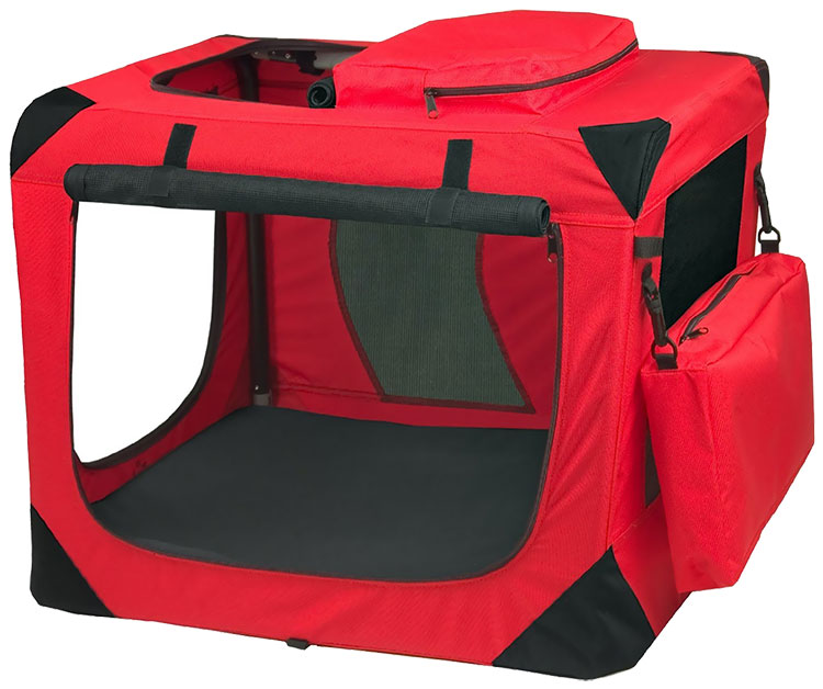 """Pet Gear Generation II Deluxe Portable Soft Crate 27.5"""" - Red Poppy"""