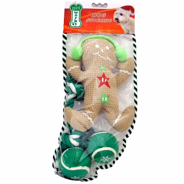 Pet Works Holiday Stocking Set - Gingerbread Man (4 pack)