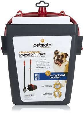 Petmate Clean Response Swivel Bin & Rake - Gray/Red