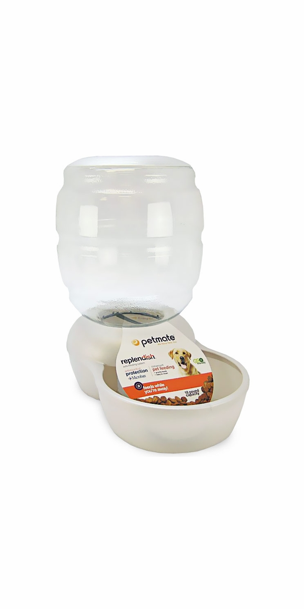 Petmate Replendish Feeder with Microban (18 lb) -Pearl White