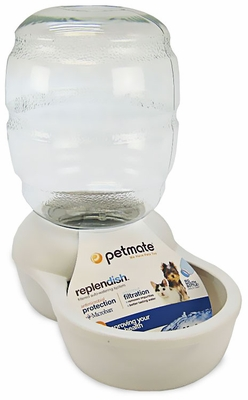 Petmate Replendish Waterer with Microban 0.5 Gallon - Pearl White