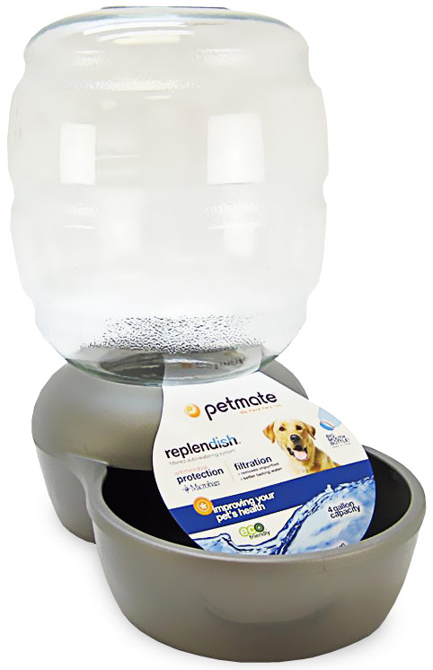 Petmate Replendish Waterer with Microban 4 Gallon - Brushed Nickel