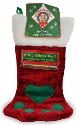 Plush Puppies Holiday Paw Stocking w/ Free Glitter Pen - Large Red
