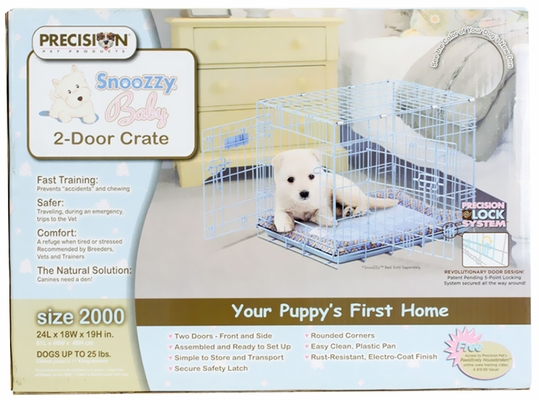 "Precision Blue SnooZZy Baby Crate 2000 24x18x19"" - Two Door"