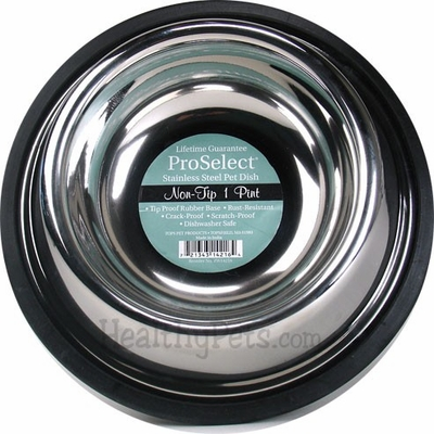 "ProSelect Stainless Steel Non-tip Pet Dish (1pt Width=5"")"
