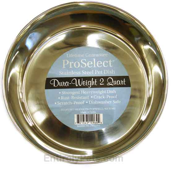 """ProSelect Stainless Steel Pet Dish Dura-Weight (2 Qt Width=8"""")"""