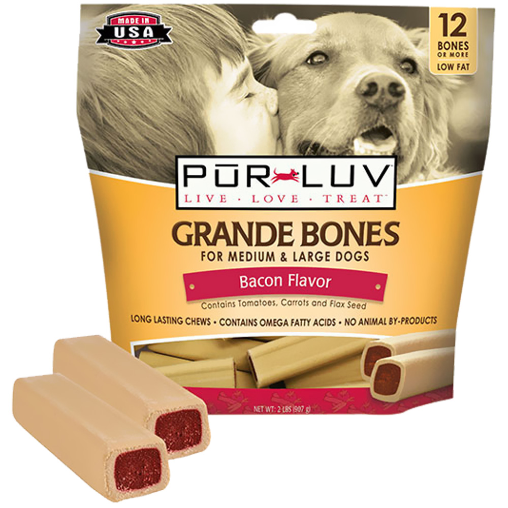 Pur Luv Grande Bones - Bacon (12 count)