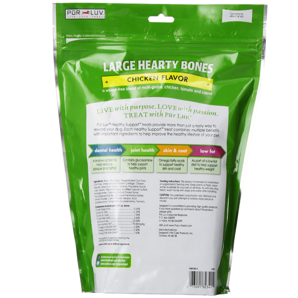 Pur Luv Healthy Support Hearty Chew Bones - Large (26 oz)