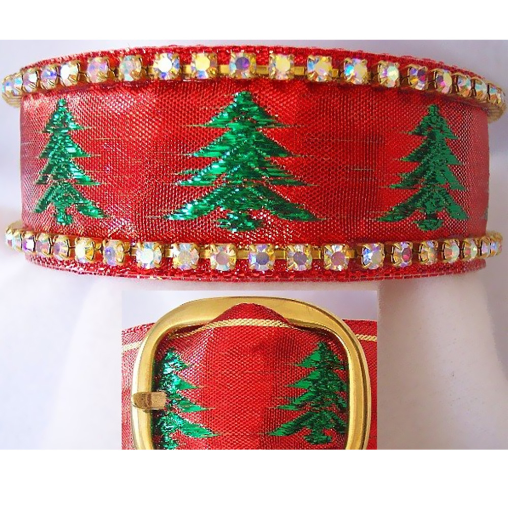 Rhinestone Dog Collars - Christmas Tree Glitter (Medium/Large)