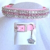 Rhinestone Dog Collars - Princess in Pink Velvet # 189 (Medium/Large)