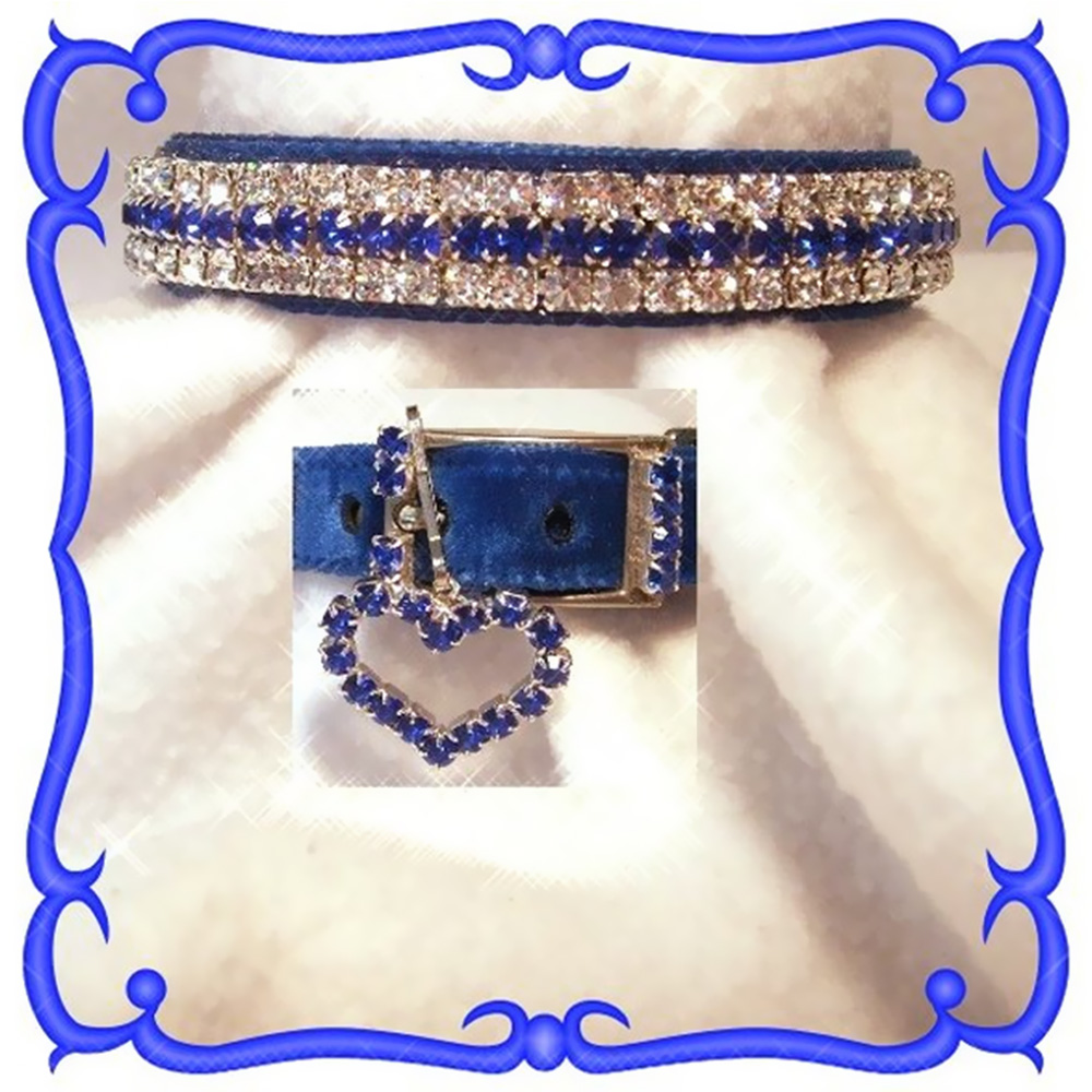 Rhinestone Dog Collars - Royal Blue Velvet # 301  (XSmall)
