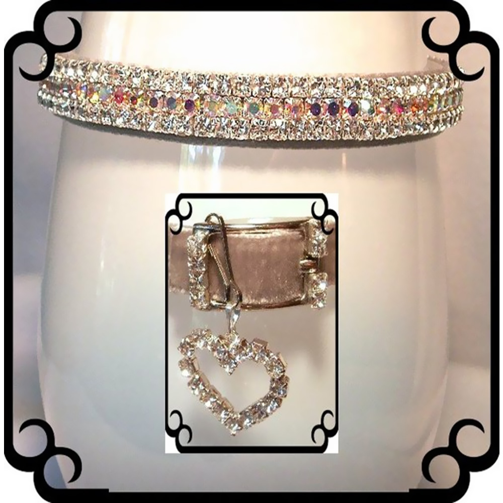 Rhinestone Dog Collars - Silver Velvet Sparkle # 293 (Medium/Large)